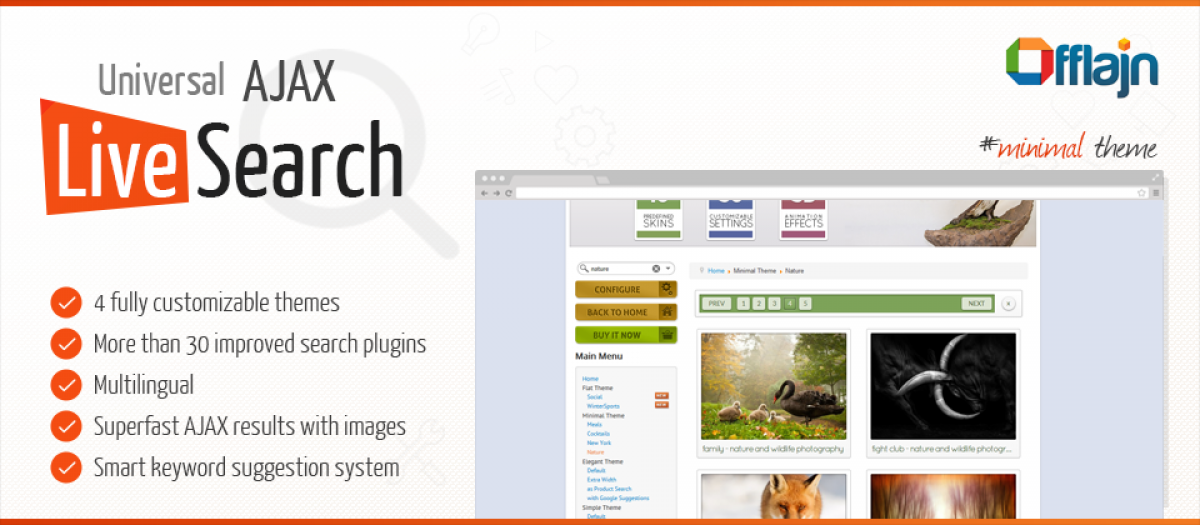 Universal AJAX Live Search, by Offlajn - Joomla Extension