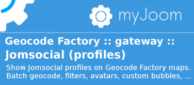 Geocode Factory 5 gateway for Jomsocial