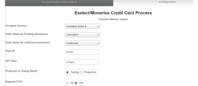 Eselect/Monerise Gateway for Virtuemart Payment