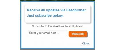 On Screen Feedburner Popup for Joomla