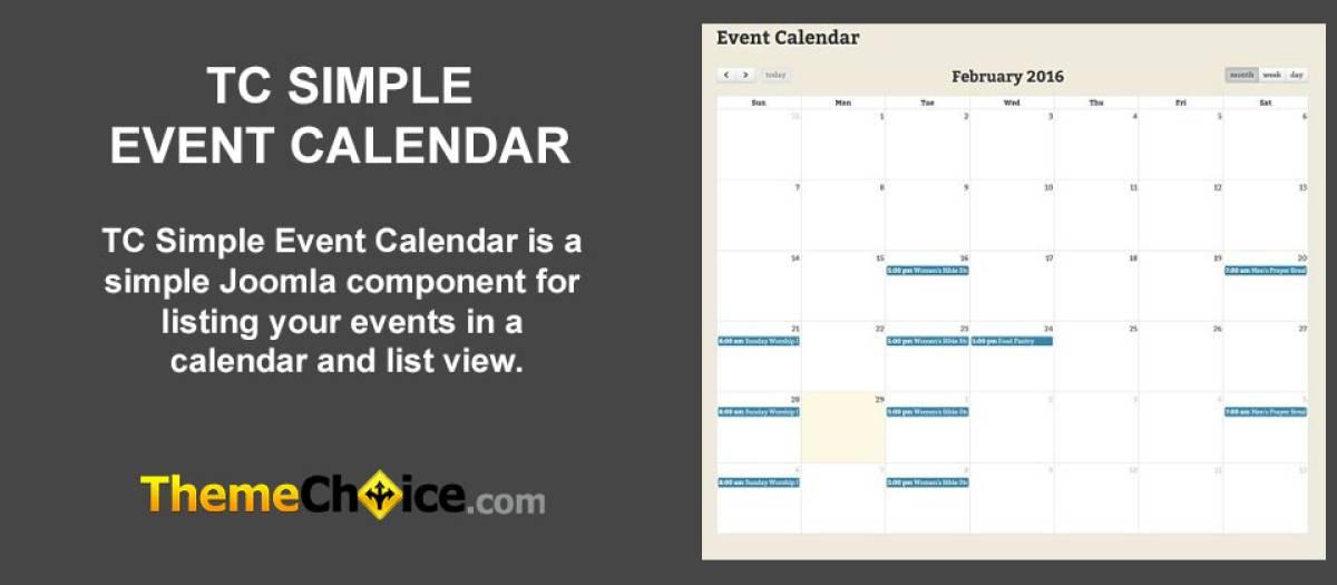 Simple Event Calendar, by ThemeChoice com - Joomla Extension