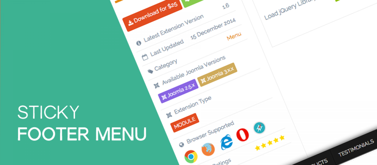 Sticky Footer Menu, by Infyways Solutions - Joomla Extension