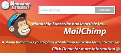 Moonchip Subscribe box for Mailchimp