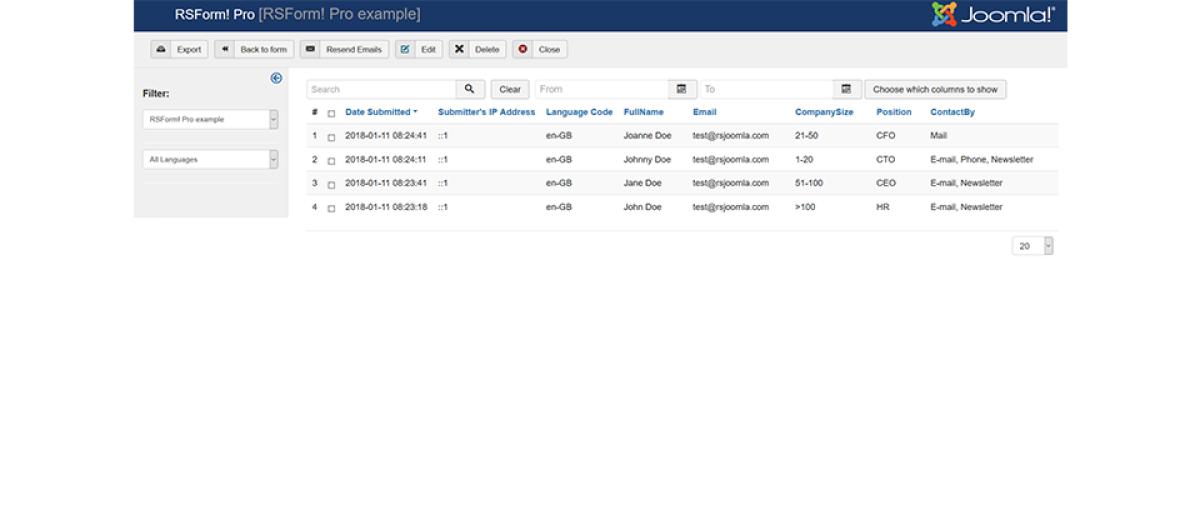 rsform module for joomla 2.5