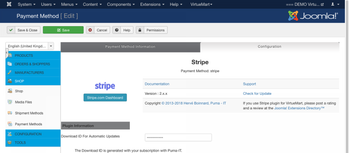 Stripe for VirtueMart, by Puma-IT - Hervé Boinnard - Joomla