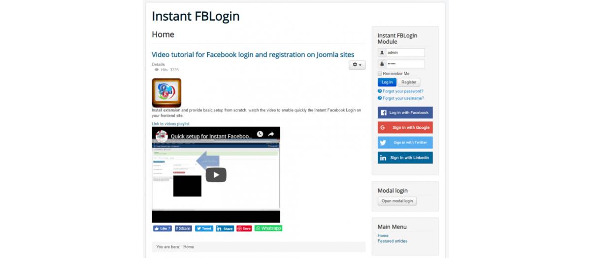 Instant Facebook Login, by J!Extensions Store - Joomla