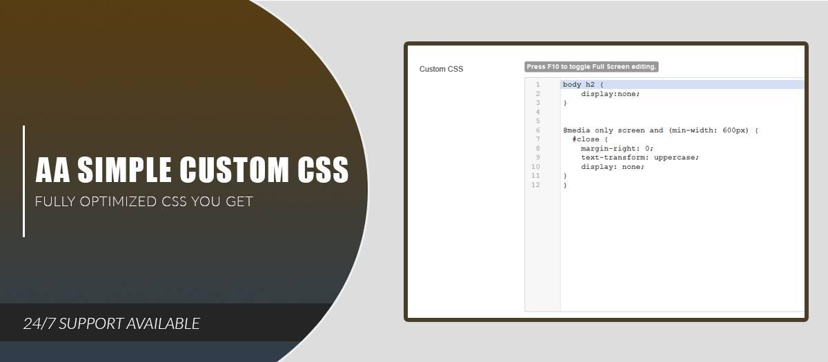 AA Simple Custom CSS, by Ashik Mahmud - Joomla Extension