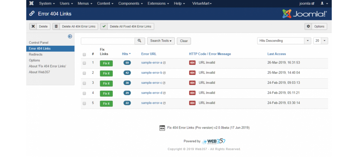 Fix 404 Error Links, by Web357 - Joomla Extension Directory