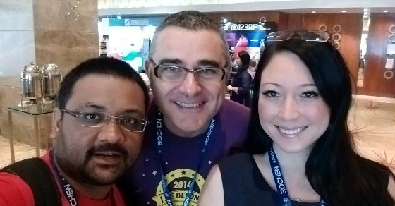 From left to right, Gunjan Patel (not a JED member, but it is a nice photo), Daniel Dubois - Review Specialist and Joomla! Community Magazine author - and Tessa